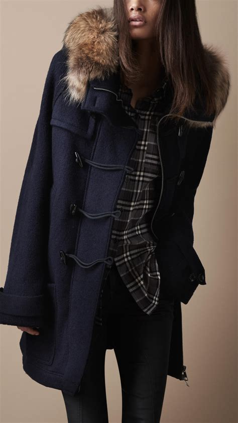 Burberry Brit Fur Trim Knitted Duffle Coat in Navy Blue