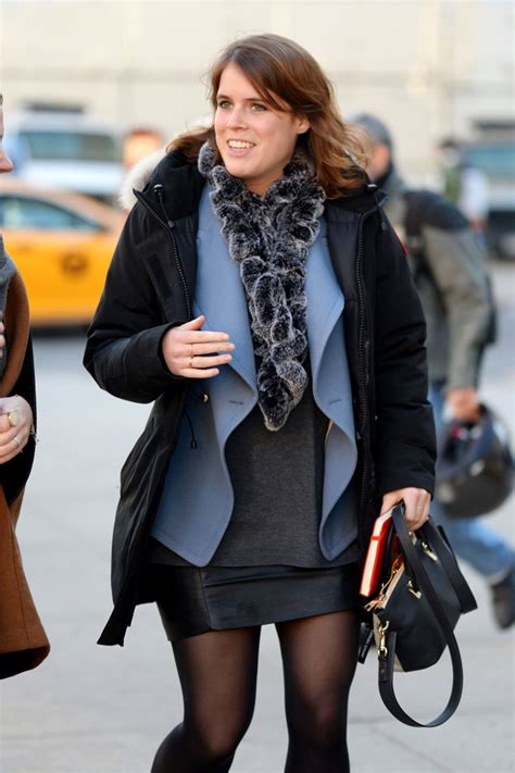 Princess Eugenie Shows Off Leather Miniskirt And Fur Scarf